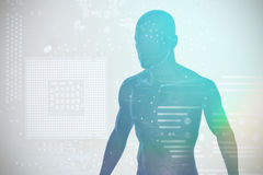 Composite image of image of a black character 3D. Image of a black character against micro parts in computer chip 3D royalty free illustration
