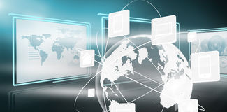 Composite image of  image of business graphs and map. Vector image of business graphs and map against media devices with earth graphic in 3d Royalty Free Stock Images