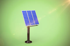 Composite image of image of 3d blue solar panel. Image of 3D blue solar panel against green background Royalty Free Stock Photography