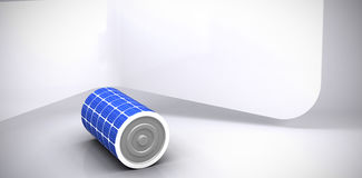 Composite image of  image of 3d solar battery. Vector image of 3d solar battery against abstract room Stock Photos