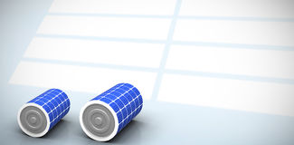 Composite image of  image of 3d solar battery. Vector image of 3d solar battery against white squares on blue background Stock Photography