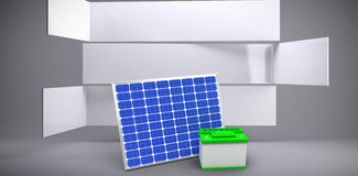 Composite image of  image of 3d solar panel with battery. Vector image of 3d solar panel with battery against abstract room Stock Images