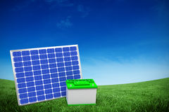 Composite image of  image of 3d solar panel with battery. Vector image of 3d solar panel with battery against green field under blue sky Royalty Free Stock Photos