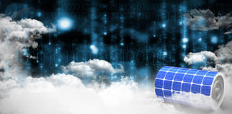 Composite image of  image of 3d solar power battery. Vector image of 3d solar power battery against clouds over binary coded screen Stock Images