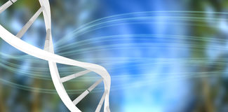 Composite image of image of dna helix. Image of dna helix against dark background with shiny lines royalty free illustration