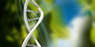 Composite image of image of dna helix. 3d Image of dna helix against blue and green background with shiny lines stock illustration