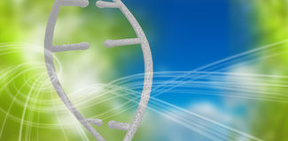 Composite image of image of dna helix. 3d Image of dna helix against blue and green background with shiny lines vector illustration