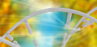 Composite image of image of dna helix. 3d Image of dna helix against blue and orange background with shiny lines royalty free illustration