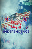 Composite image of  image of happy independence day text with decoration. Vector image of Happy Independence day text with decoration  against colourful Stock Photo