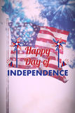 Composite image of  image of happy independence day text with decoration. Vector image of Happy Independence day text with decoration  against colourful Royalty Free Stock Images