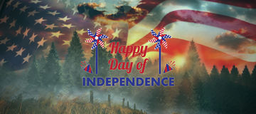 Composite image of  image of happy independence day text with decoration. Vector image of Happy Independence day text with decoration  against country scene Stock Photo