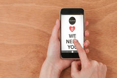 Composite image of  image of we need you text with icons Royalty Free Stock Images