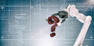 Composite image of image of robotic arm holding question mark 3d Royalty Free Stock Photography