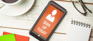 Composite image of  image of sign up now text with human icon Royalty Free Stock Photography