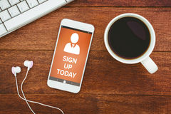 Composite image of  image of sign up now text with human icon. Vector image of Sign Up Now text with human icon  against view of a mug of coffee and a smartphone Royalty Free Stock Photos