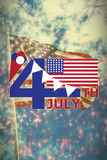 Composite image of image of 4th july text with flag and decoration. Vector image of 4th July text with flag and decoration against colourful fireworks exploding Royalty Free Illustration