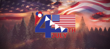 Composite image of  image of 4th july text with flag and decoration Royalty Free Stock Photography