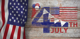 Composite image of  image of 4th july text with flag and decoration Stock Image
