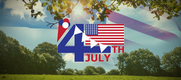 Composite image of  image of 4th july text with flag and decoration. Vector image of 4th July text with flag and decoration  against green field Stock Photography