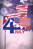 Composite image of  image of 4th july text with flag and decoration. Vector image of 4th July text with flag and decoration  against white fireworks exploding on Stock Photo