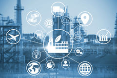 Composite image of composite image of industry amidst various icons. Composite image of industry amidst various icons against image of factory royalty free illustration