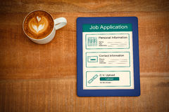 Composite image of informations for job application. Informations for job application against above view of a coffee and a blue tablet Stock Photography