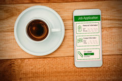 Composite image of informations for job application. Informations for job application against above view of a coffee and a smartphone Stock Images