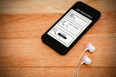 Composite image of informations for job application. Informations for job application against black smartphone with white headphones Royalty Free Stock Photos