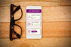 Composite image of informations for job application. Informations for job application against view of glasses and a smartphone Royalty Free Stock Photos