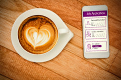 Composite image of informations for job application. Informations for job application against view of a heart composed of coffee Royalty Free Stock Photography