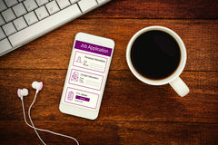 Composite image of informations for job application. Informations for job application against view of a mug of coffee and a smartphone Royalty Free Stock Photo