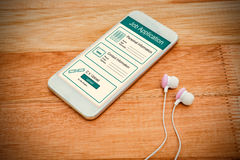Composite image of informations for job application. Informations for job application against white smartphone with white headphones Royalty Free Stock Images