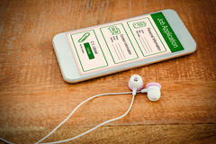 Composite image of informations for job application. Informations for job application against white smartphone with white headphones Stock Photo