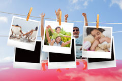Composite image of instant photos hanging on a line Royalty Free Stock Photo