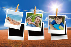 Composite image of instant photos hanging on a line Royalty Free Stock Photography