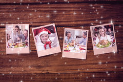 Composite image of instant photos on wooden floor Stock Images