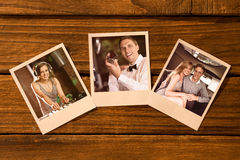 Composite image of instant photos on wooden floor royalty free stock photos