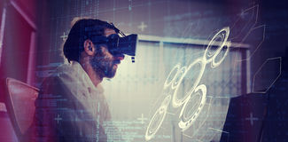 Composite image of interface. Interface against businessman wearing virtual glasses Stock Image