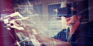 Composite image of interface. Interface against businessman wearing virtual glasses Stock Photos