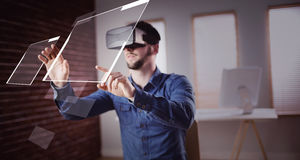 Composite image of interface. Interface against man using virtual glass Stock Photo