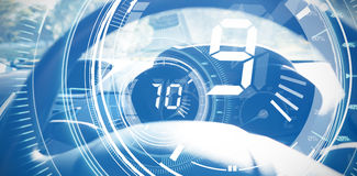 Composite image of interface dial countdown with timer in blue background Royalty Free Stock Images