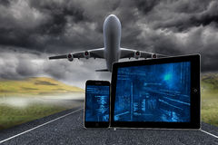Composite image of interface on tablet and smartphone screens Royalty Free Stock Photos