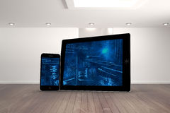 Composite image of interface on tablet and smartphone screens Stock Photo