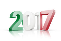 Composite image of italy national flag. Italy national flag against illustration of new year number Stock Photos