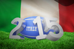 Composite image of italy rugby 2015 message. Italy rugby 2015 message  against italy flag against white background Royalty Free Stock Image
