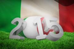 Composite image of italy rugby 2015 message. Italy rugby 2015 message  against italy flag against white background Stock Photos