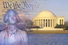 Composite image of Jefferson Memorial, US Constitution, and bust of Thomas Jefferson Royalty Free Stock Images