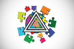 Composite image of jigsaw with earth pyramid design doodles Stock Images