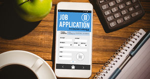 Composite image of job application on smartphone Stock Photo