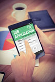 Composite image of job application on smartphone Royalty Free Stock Images